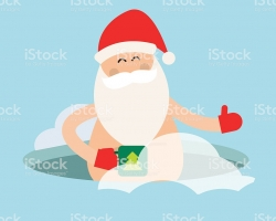 Santa bathes in an ice hole and drinks tea