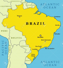 Бразилия на карте Южной Америки